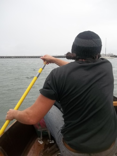 Hubby rowing us back in 18moh winds