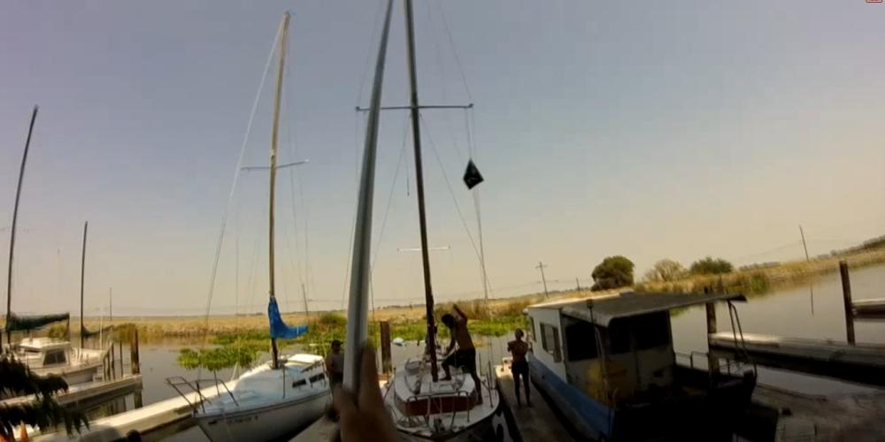 Raising the mast on Plan B