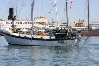 SV Tortuga sailing by